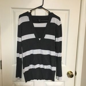 Rue 21 Grey and white striped hoodie sweater